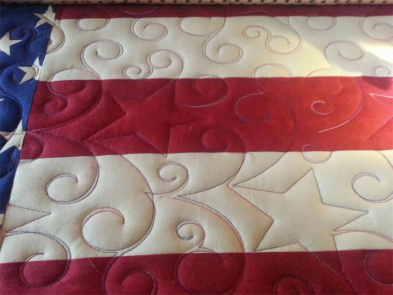 An American Flag memory quilt for Alex, Northern Star stitching quilted by Katie (The Kid)