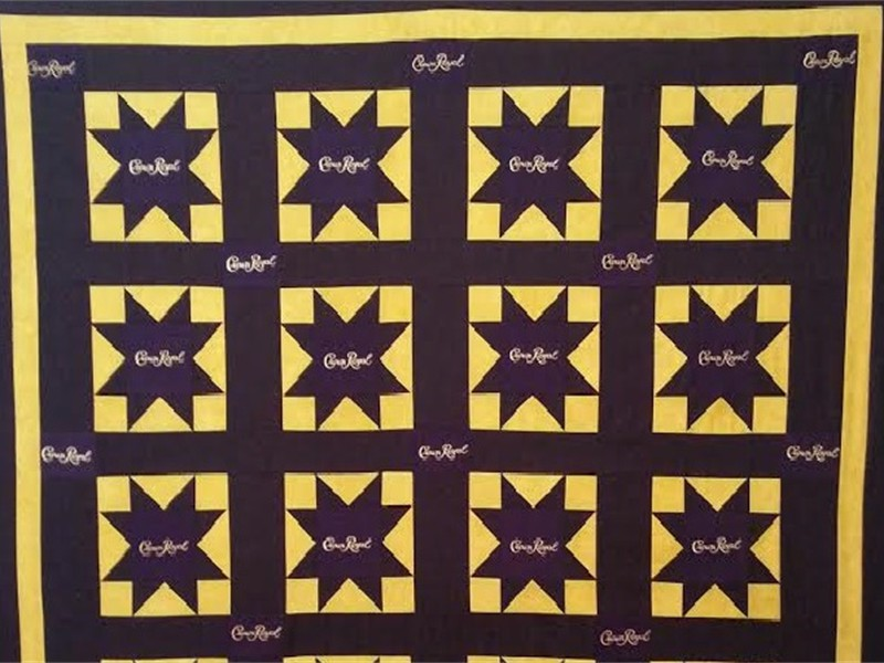 Crown Royal Quilt commissioned by Sean (made from Crown Royal Bags), pieced and quilted by Katie (The Kid)